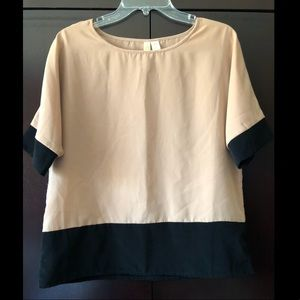 Black and Tan color block blouse